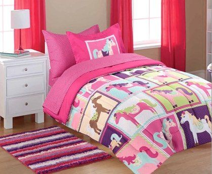 5pc Girl Pink Purple Horse Pony Twin Comforter Set Bed In A Bag