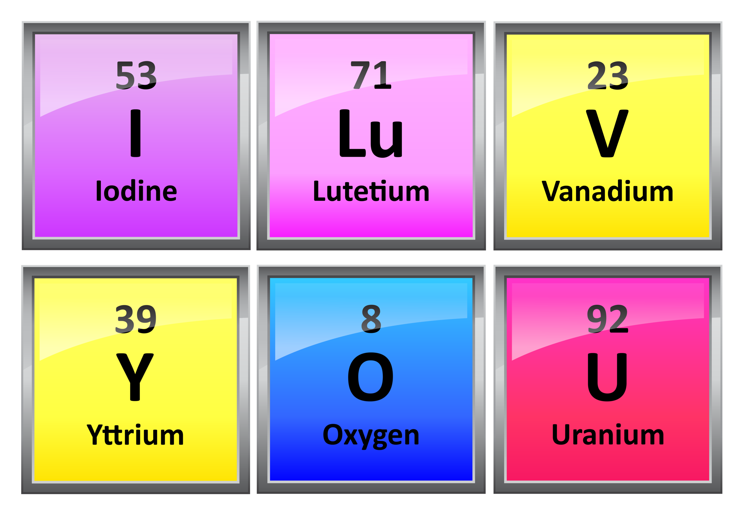 your choice of the periodic table elements no.5 transparent and colored labels