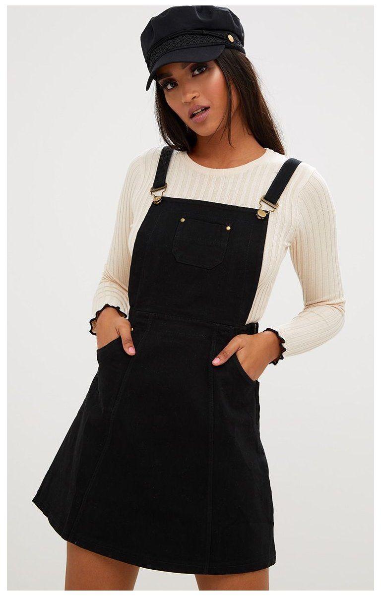 Martine Black Denim Pinafore Dress Pinafore Denim Dress Outfit Martine Black Denim Pinafore Dres Denim Dress Outfit Jean Overall Dress Winter Dress Outfits [ 1202 x 768 Pixel ]