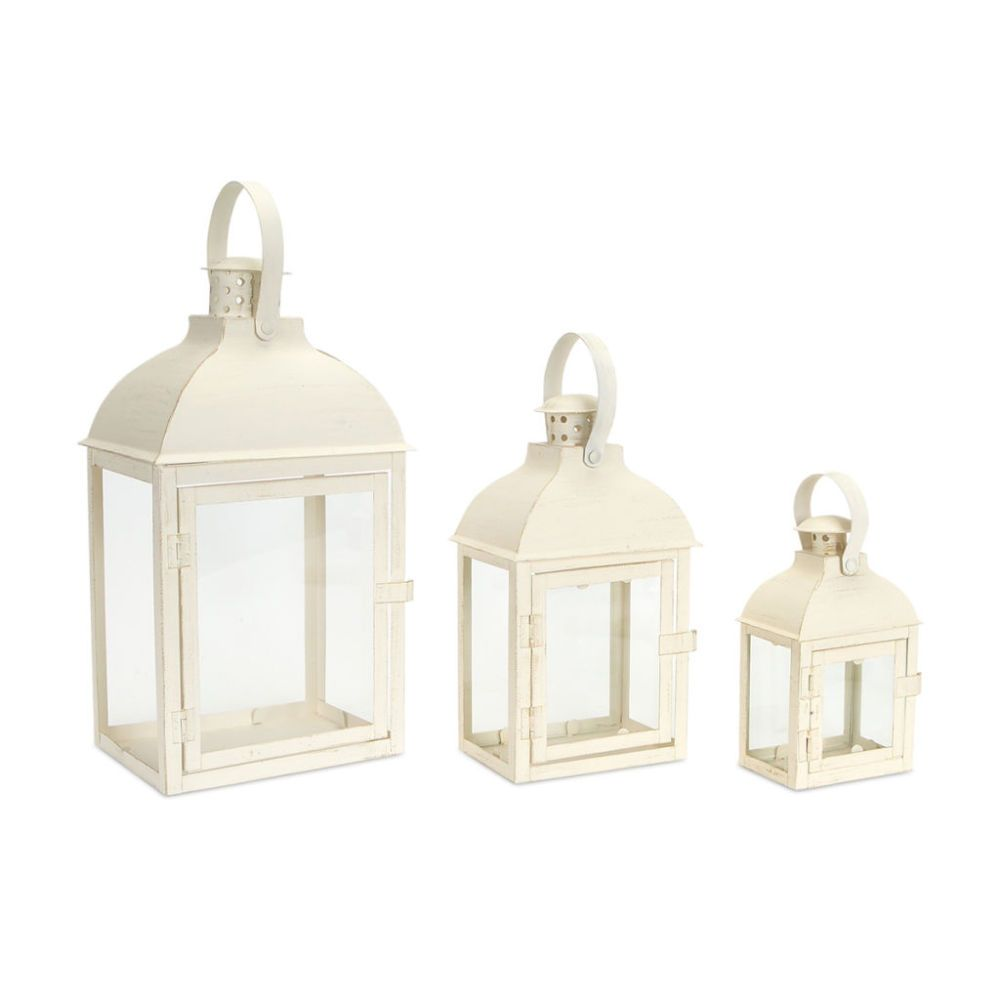 Dome Top Cream Colored Lanterns Set Of