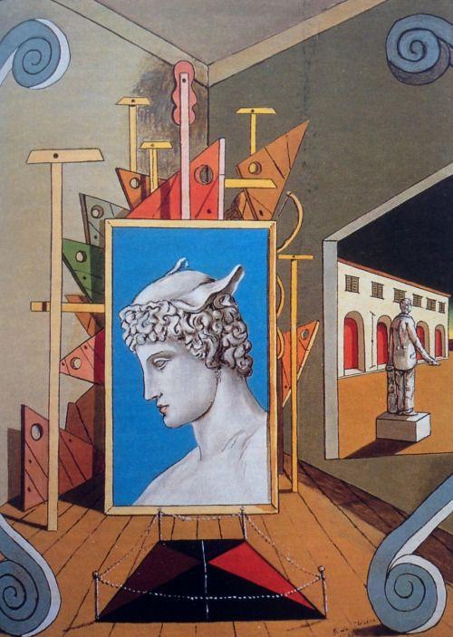 Giorgio de Chirico (1888-1978)  Metaphysical interior with head of Mercury, 1969
