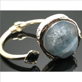 18k Yellow GP Genuine Blue Rhodochrosite & Sapphire Bracelet