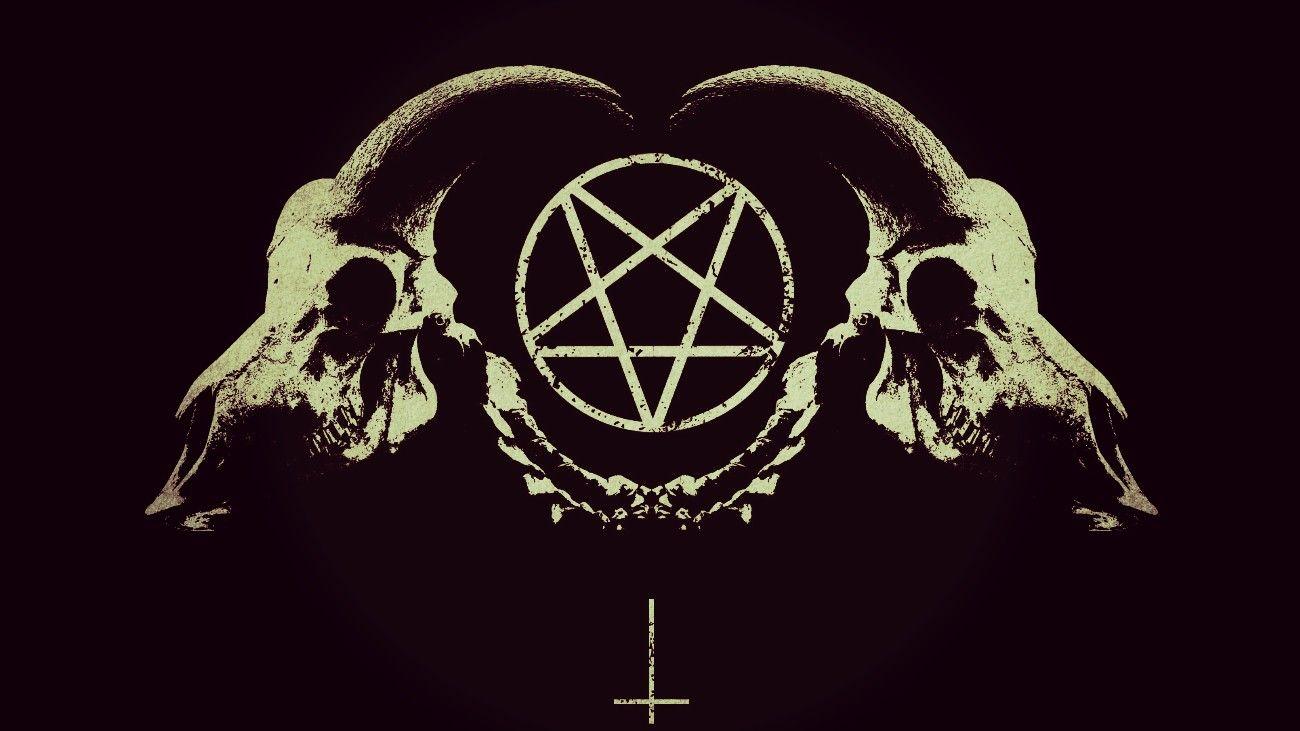 Pentagram with goat skulls. Satanic art, Gothic wallpaper