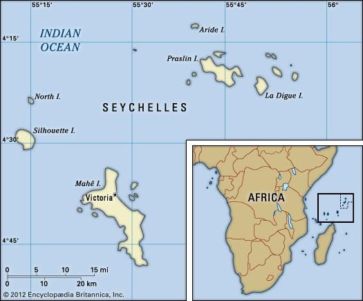 Seychelles Political Map Boundaries Cities Islands Includes - World map city locator