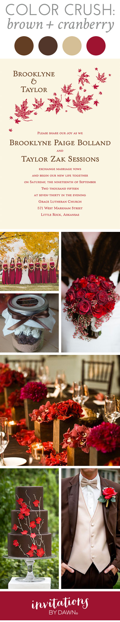 Color Crush: Brown and Cranberry | Crushes, Brown and Weddings