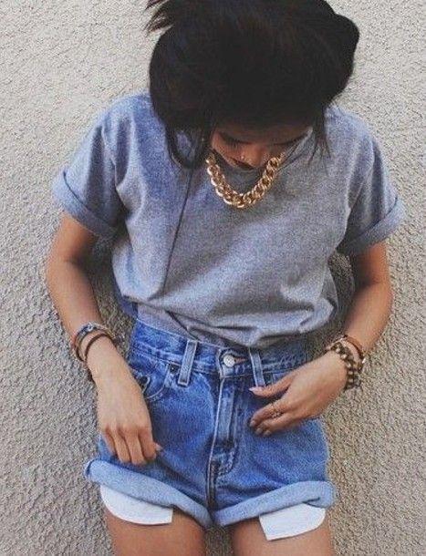 Shorts: denim shorts, 90s style, goldnecklace, high waisted shorts - Wheretoget