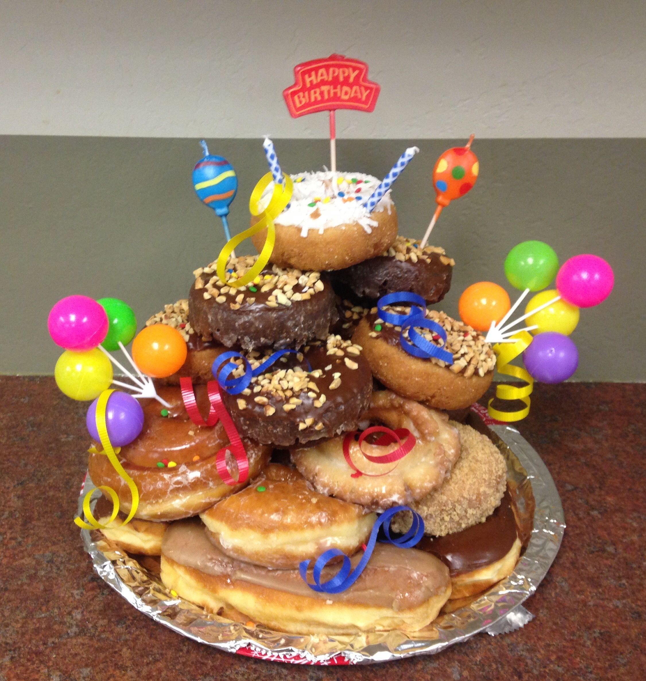 Donut tower birthday cake food donut tower cake