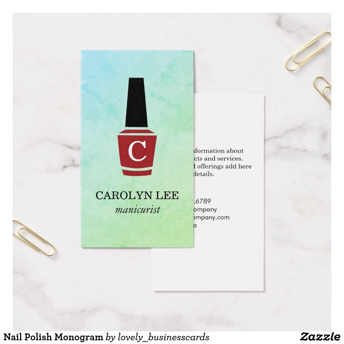 Nail polish monogram business card business cards monograms and nail polish monogram business card magicingreecefo Images