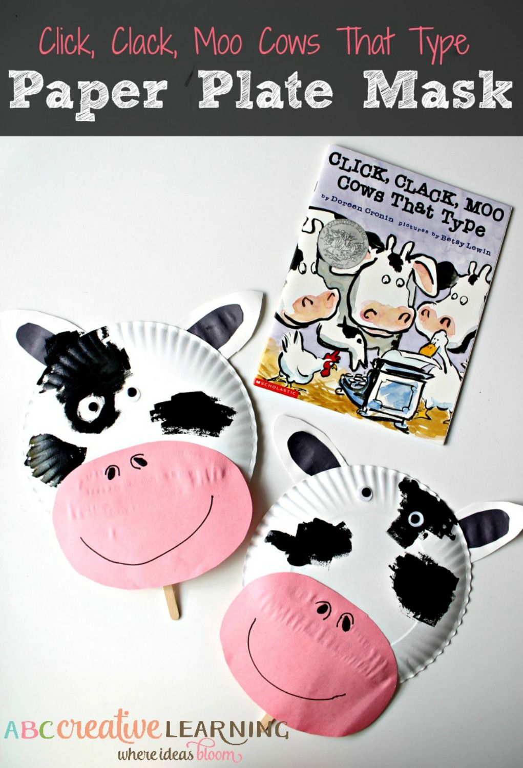 Click Clack Moo Cows That Type Cow Paper Plate Mask - abccreativelearning.com & Click Clack Moo Cows That Type Cow Paper Plate Mask | Paper plate ...