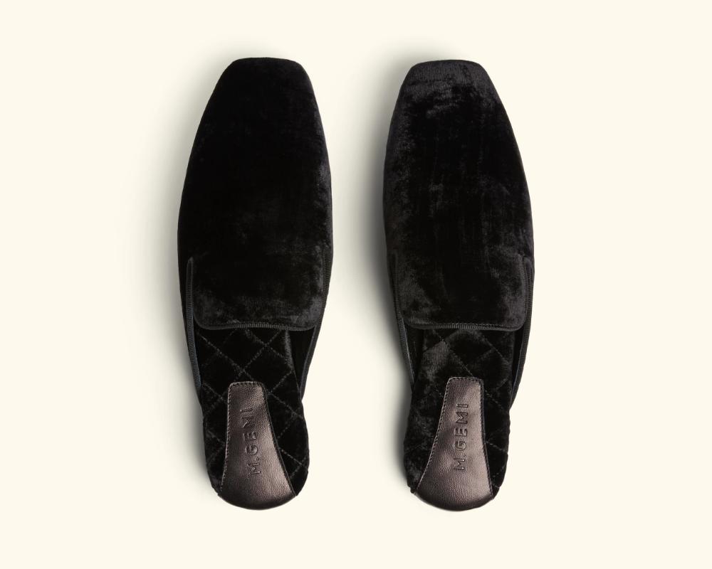 crushed velvet loafers
