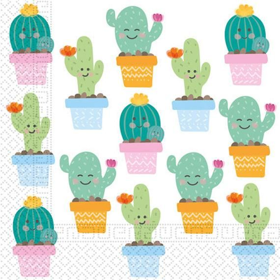 Cactus Smiley Pinata - 11 cm -Paper Napkins - Invitation - Tableware - Paper Plates -Cups -Treat Bags -Partyware -Baby Shower Birthday Party #papernapkins