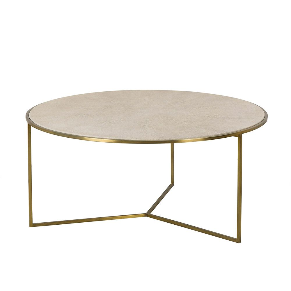 Transitional Round Coffee Table Featuring A Linen Colored Faux Shagreen In A Sunburst Pattern With Three Legged Stain Coffee Table Furniture Round Coffee Table [ jpg ]