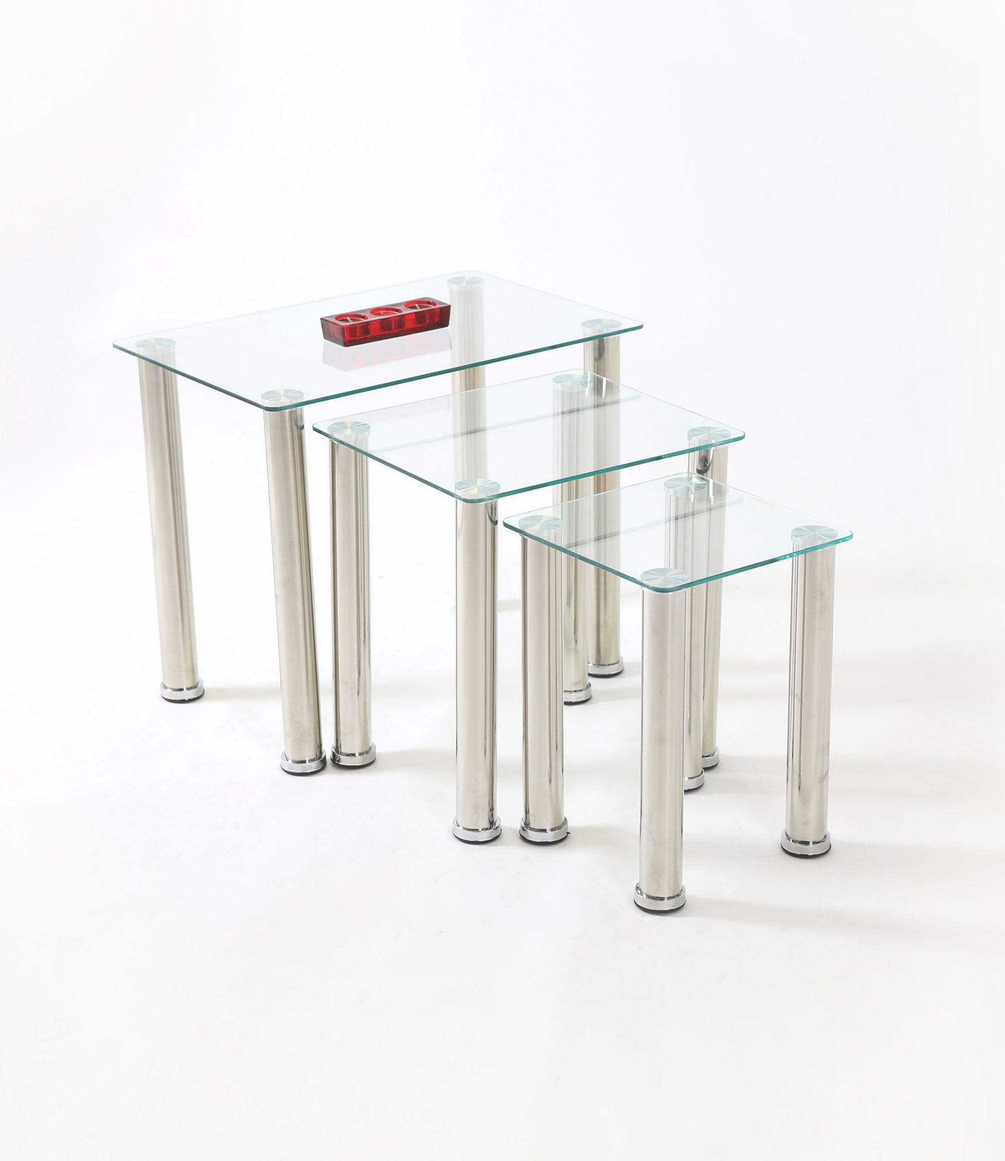 Crystal Clear Glass Nest Of Tables The Tempered Safety Glass Table Tops And Chrome Fittings And Supports Giv Glass Nesting Tables Glass Top Table Clear Glass