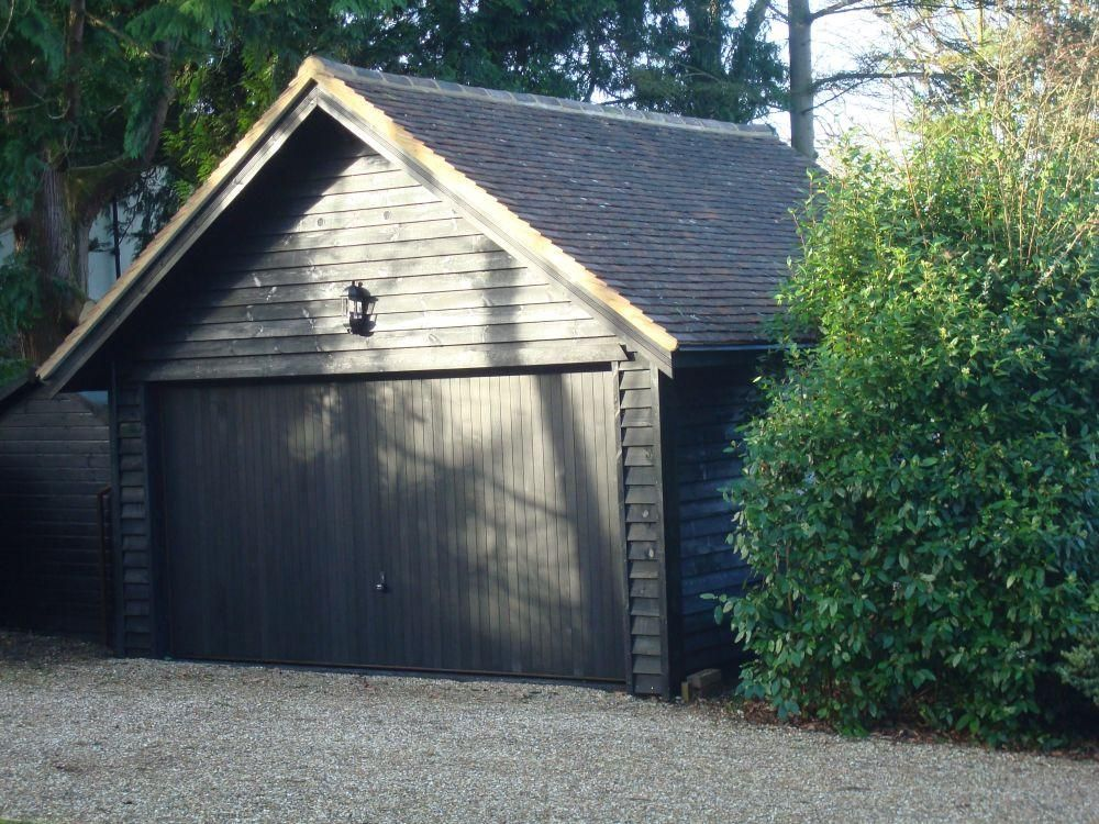 Best Double Timber Garage Finished In Black Feather Edge 400 x 300