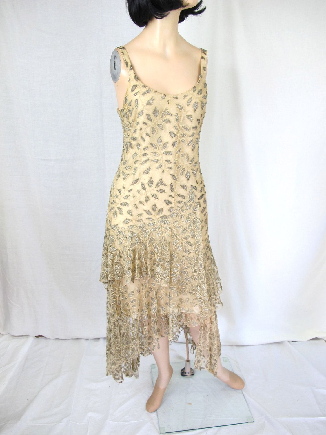 Cream dresses for weddings  ON DEPOSITs Stunning Cream Nude and GoldSilver Lace Flapper