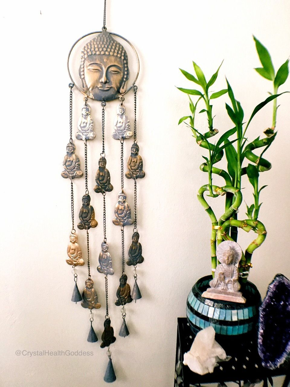 Long Buddha Wind Chime Spiritual Home Decor For Indoor Or