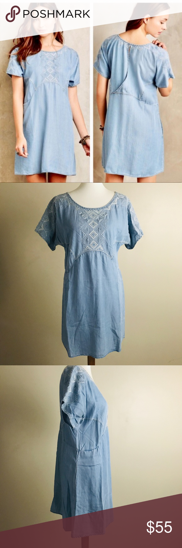 297cd21a2e0c Anthropologie Holding Horses M White Sands Dress Anthropologie Holding  Horses White Sands Dress Chambray Embroidered Tunic Mini Medium; Measures  approx 20