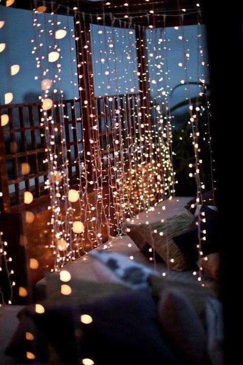 10 Waterfall String Light Wedding Decoration Ideas images
