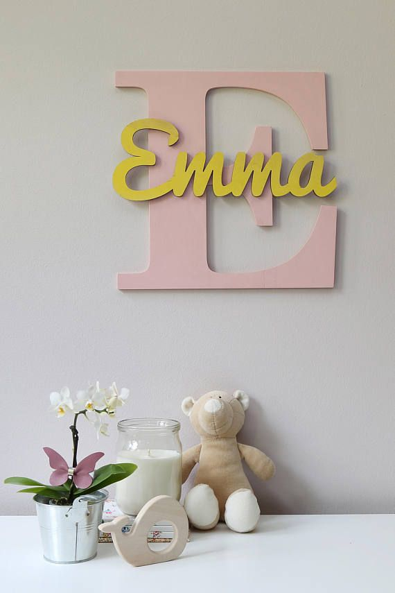 wooden letters baby nursery wall hanging letters in script font