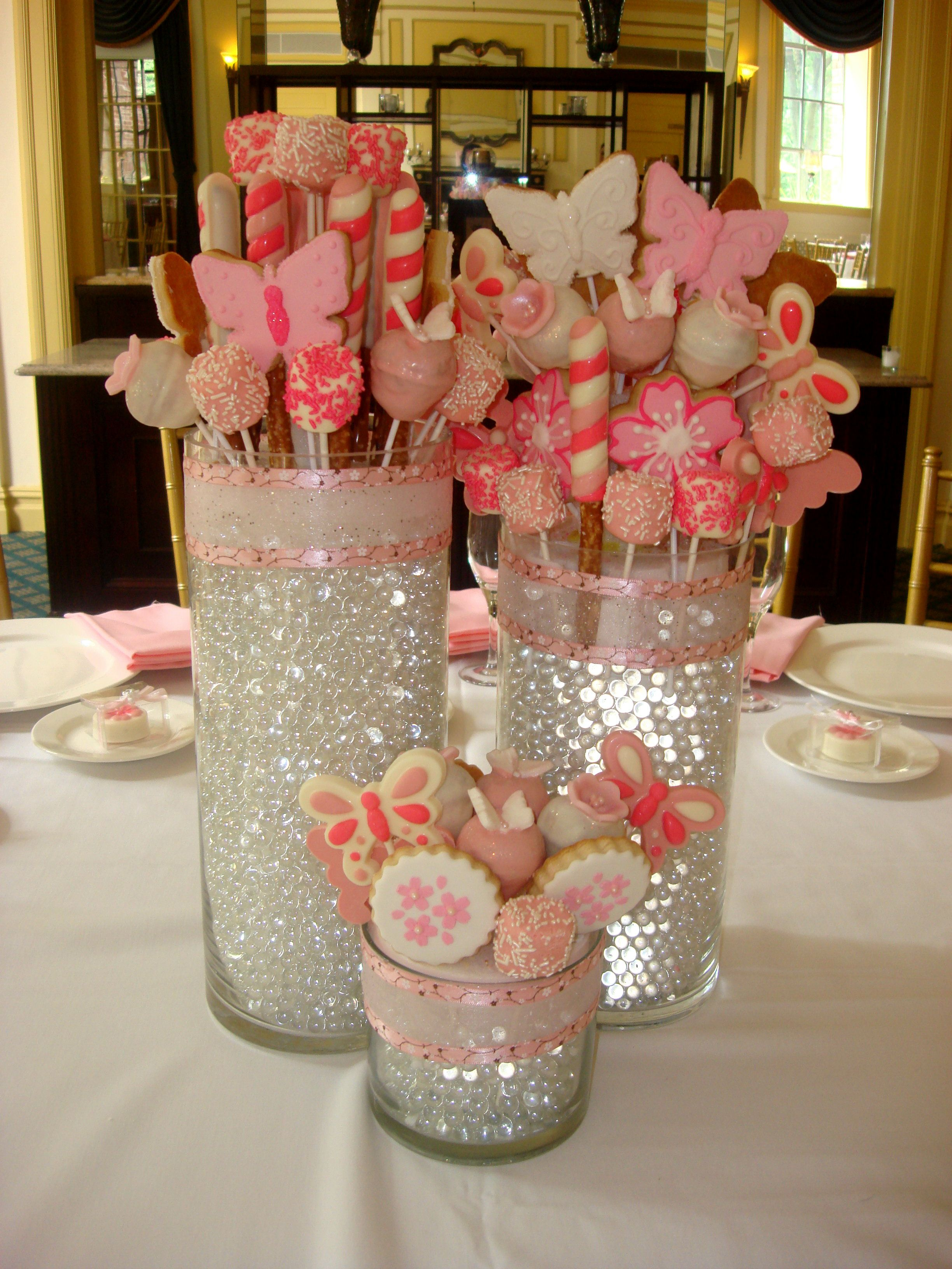 Diy table decorations for baby shower - Love This Idea For The Bridal Shower Christening Centerpiecesdiy Centerpieces For Baby