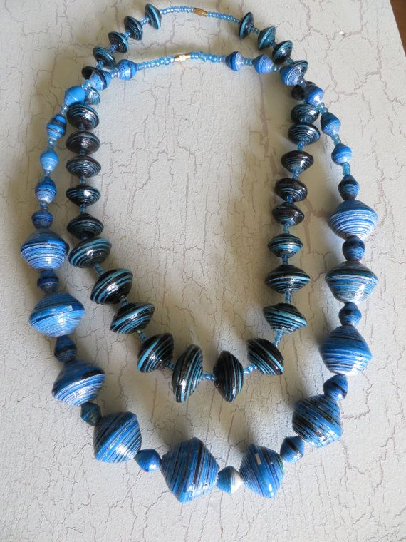 Handcraftedpaper bead necklaces and other craft by MercyUganda, $15.00