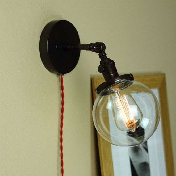 Industrial Wall Sconce Semi Flush Lighting - Clear Glass Globe ...