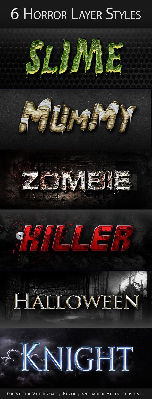 Horror Halloween Creepy Layer Styles Text Effects - Text ...