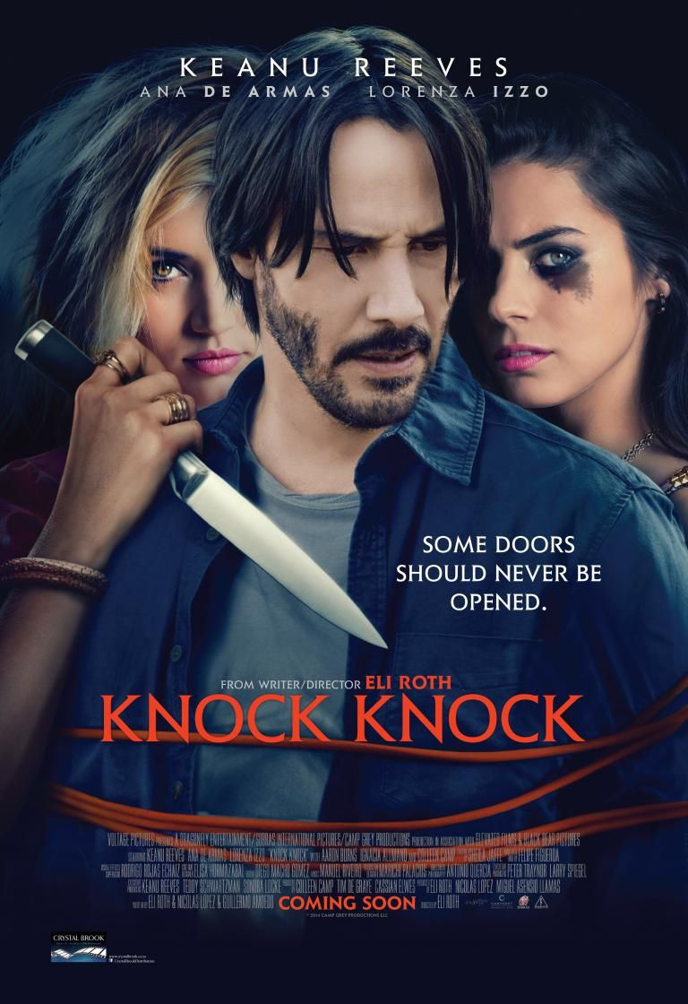 Who S There Keanu Reeves As A Devoted Husband And Father Home Alone For The Weekend In This Suspens Knock Knock Full Movie Knock Movie Full Movies Online Free