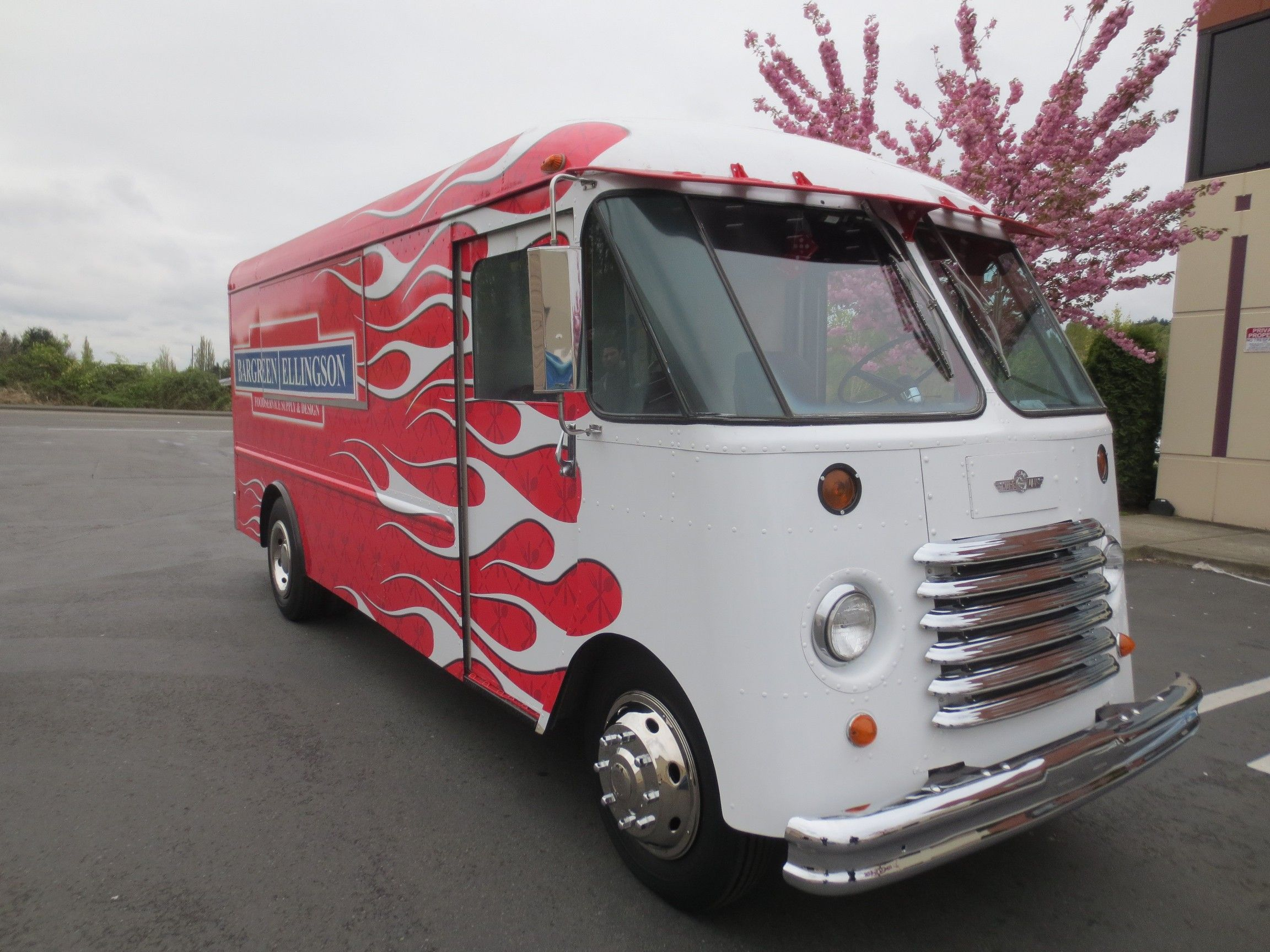 1964 grumman gmc aluminum step van food truck with flames by food truck fabricator blackrock and