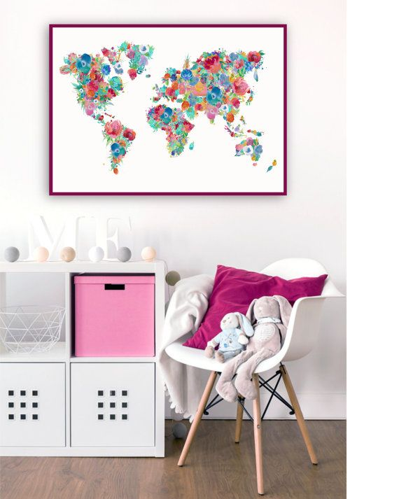Floral nursery printable world map poster floral map print girl floral world map print large world map poster by printasticstudio gumiabroncs Image collections