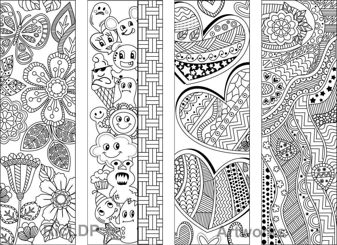 Eight Coloring Bookmarks with Abstract Patterns; Coloring Doodles ...