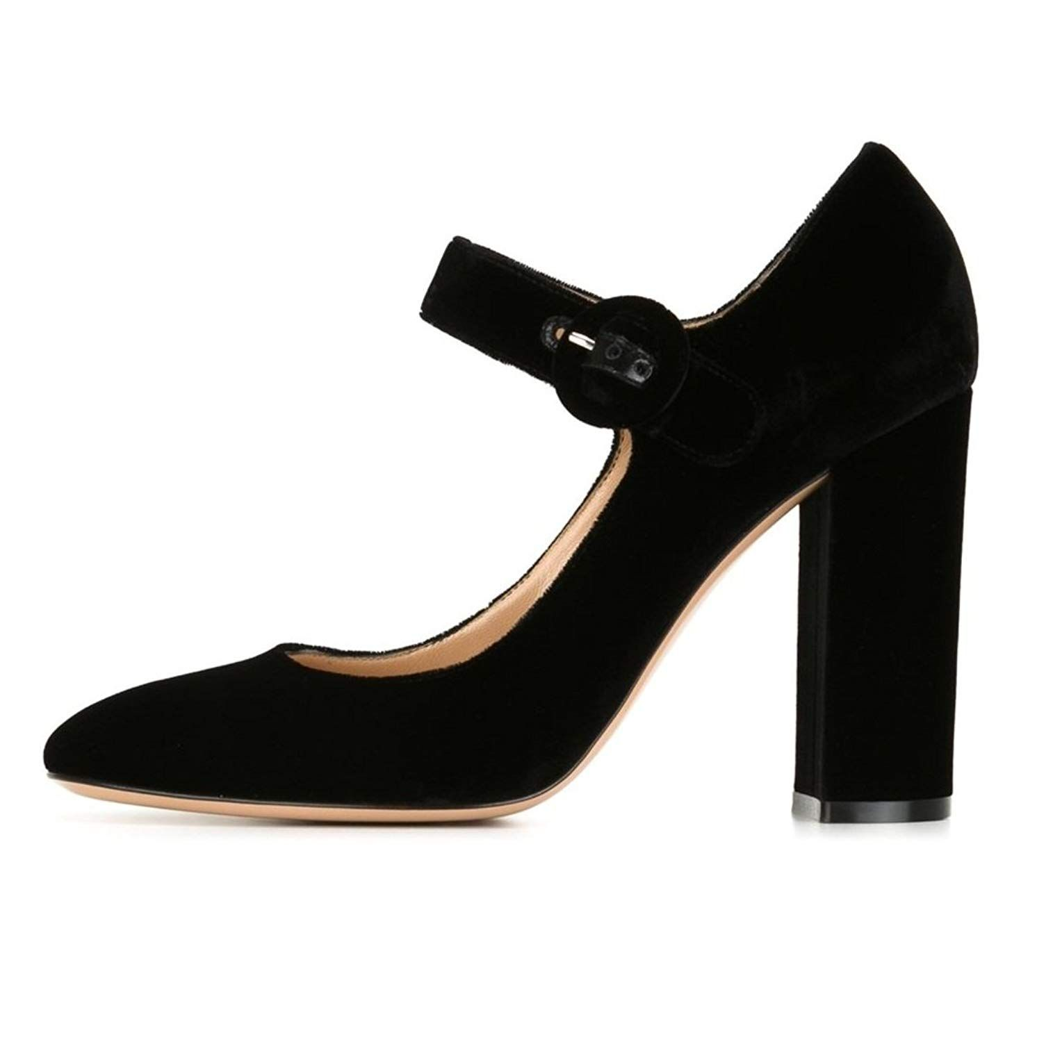 51f3746e55f Sammitop Women s 10cm Chunky Heel Mary Jane Pumps Round Toe High Heel Dress  Shoes. All