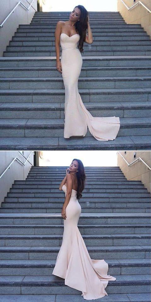 Mermaid Sweetheart Sleeveless Sweep Train Pearl Pink Stretch Satin Prom  Dress