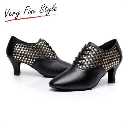 Modern Latin Heels Dance Shoes Women Lady Tango Dancewear Ballrrom Black Laces
