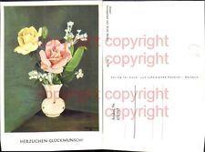 451707,Künstler AK Erich Macho 732 Glückwunsch Rosen Vase