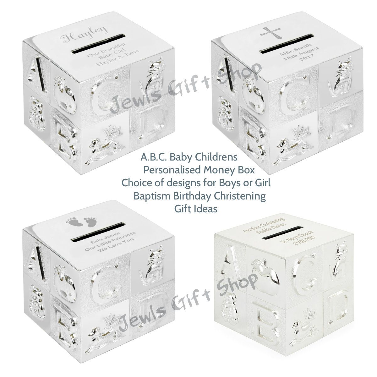 Baby childs ABC Money box personalised choice of designs christening birthday baptism gifts: