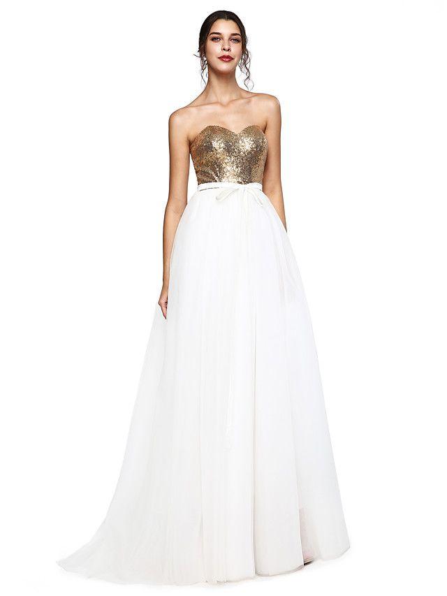 TS Couture® Evento Formal Vestido - Brilho & Glitter Linha A Coração Cauda Escova Tule / Paetês com Laço(s) / Faixa / Fita / Lantejoulas - EUR €107.79