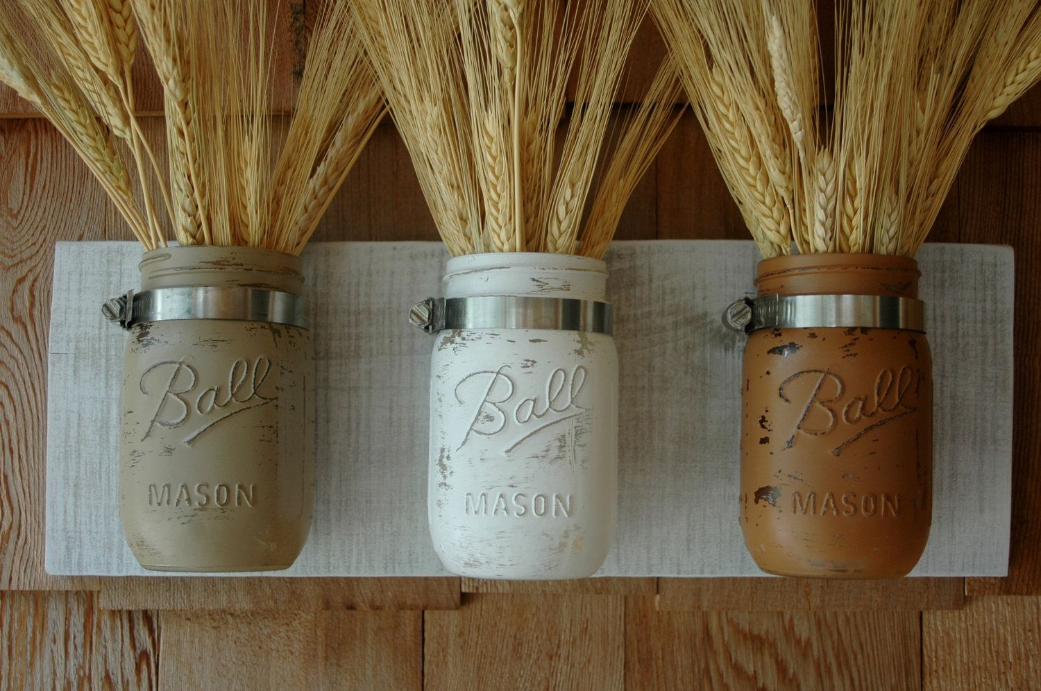 Calming Colors Painted Mason Jars Trio On Whitewashed Recycled Board For Country Home Decor