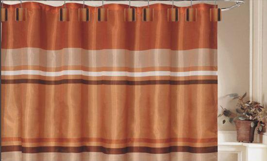 brown bathroom decor orange curtains