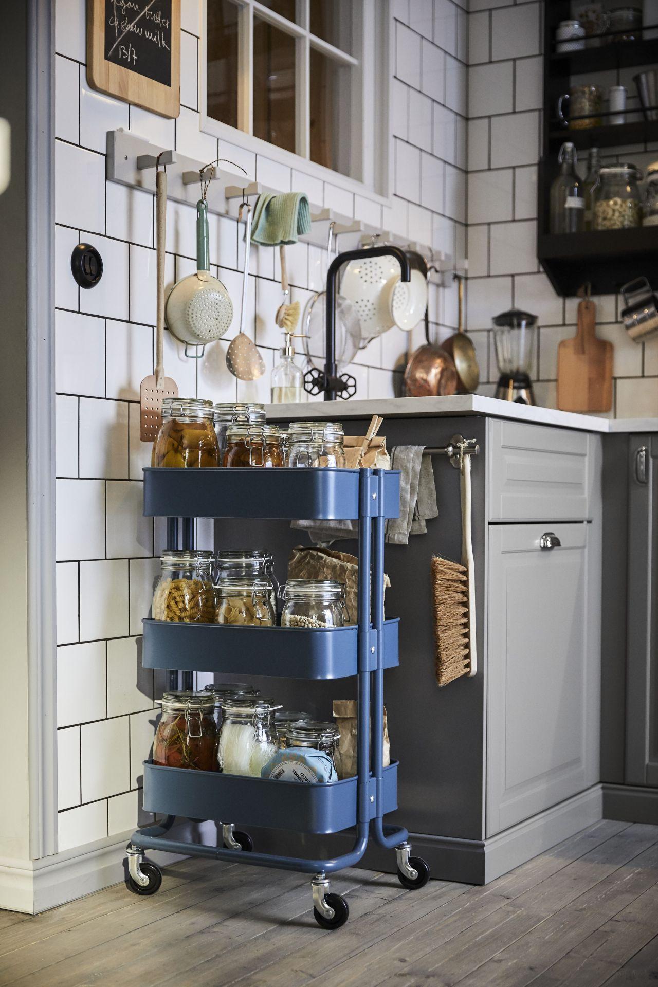 Storage on wheels   Ikea kitchen storage, Small kitchen hacks ...