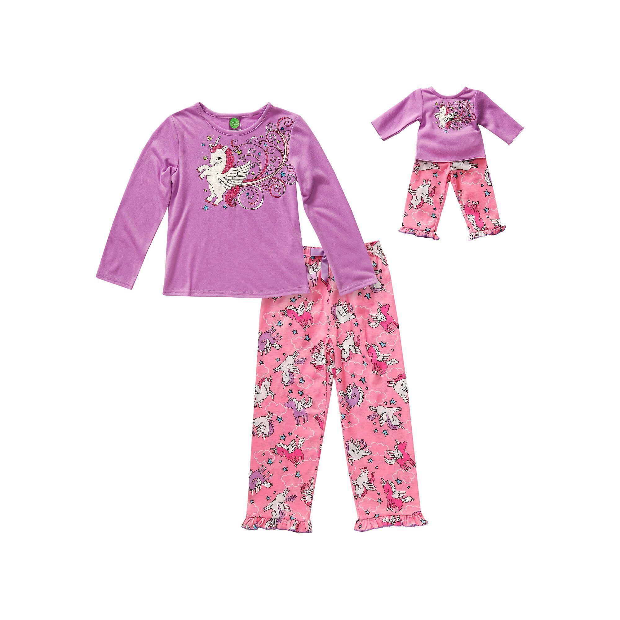 Girls 4-14 Dollie   Me Sparkly Unicorn Pajama Set  b64218676