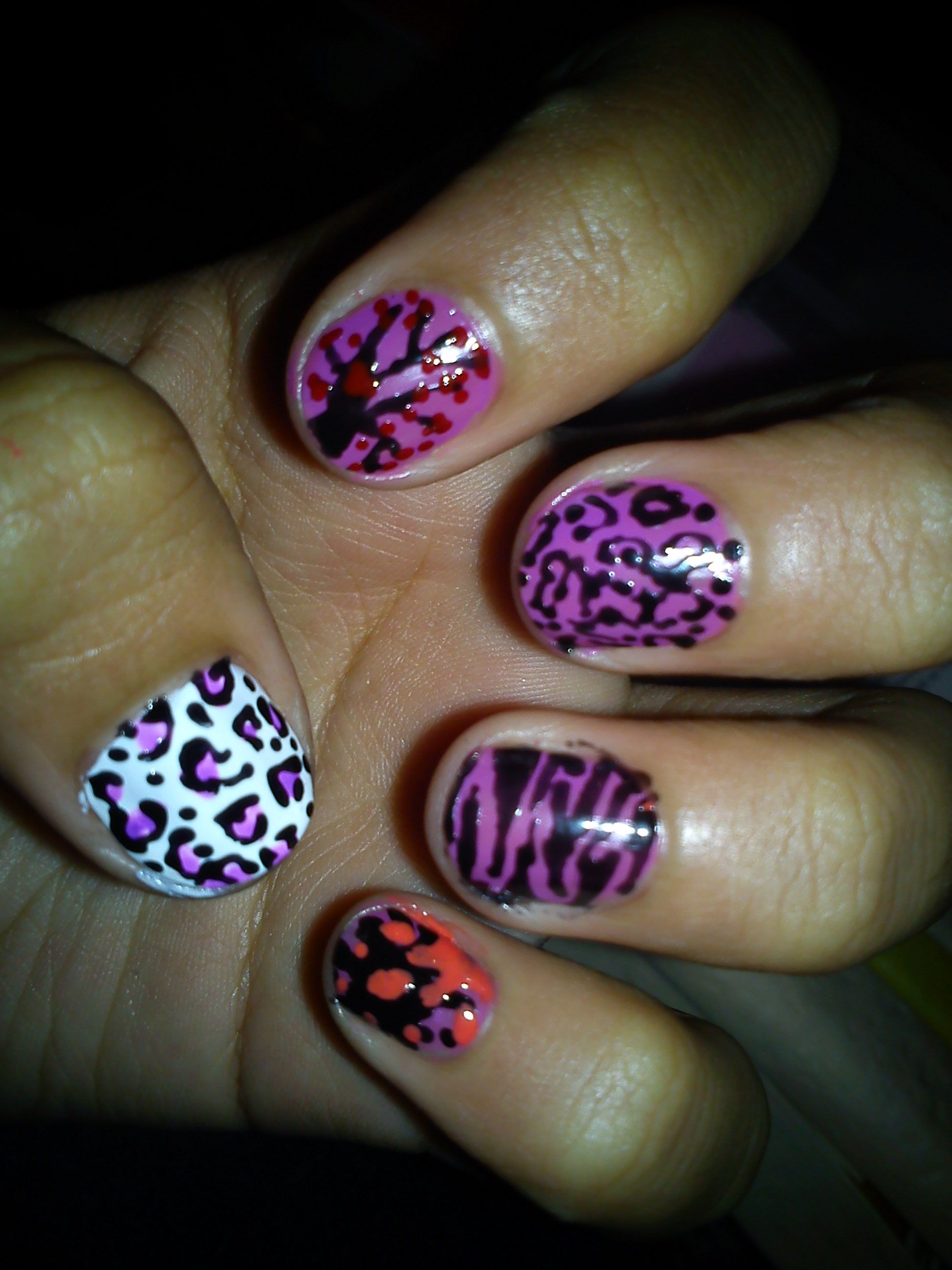 Easy Nail Art Animal Print Cute Nails Uas Coloridas Short Nails