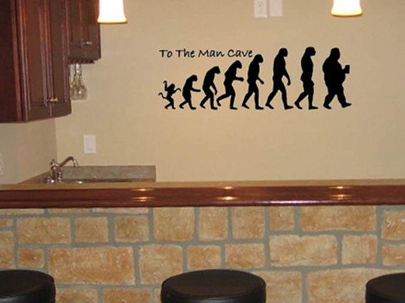 To The Man Cave Vinyl Wall Decal 6 5 X20 Man Cave Evolution Bar
