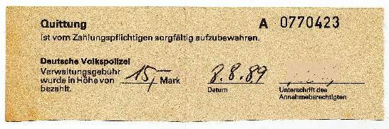 """DDR Museum - Museum: Objektdatenbank - Quittung """"Deutsche Volkspolizei""""    Copyright: DDR Museum, Berlin. Eine kommerzielle Nutzung des Bildes ist nicht erlaubt, but feel free to repin it!"""