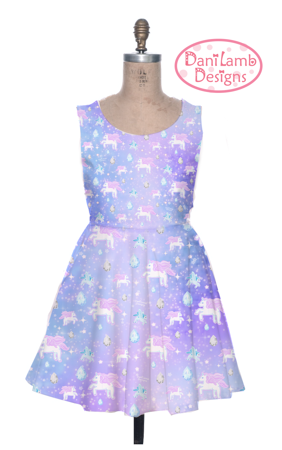 2becf8c1400 Unicorn Dress Pegasus Pony Fairy Kei Pastel Galaxy Dress Stars Universe  Size XS Through 3XL - Thumbnail 2