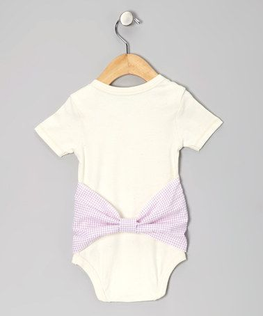 Natural & Lavender Gingham Bum onsie. Just sew the bow into seams in either side & gather fabric in center to make the bum bow! Boo Yah!