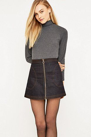 Urban Outfitters A-Line Zip Denim Skirt | Clothing | Pinterest ...