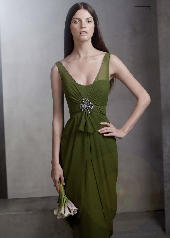 V neck sleeveless chiffon column dress style vw special