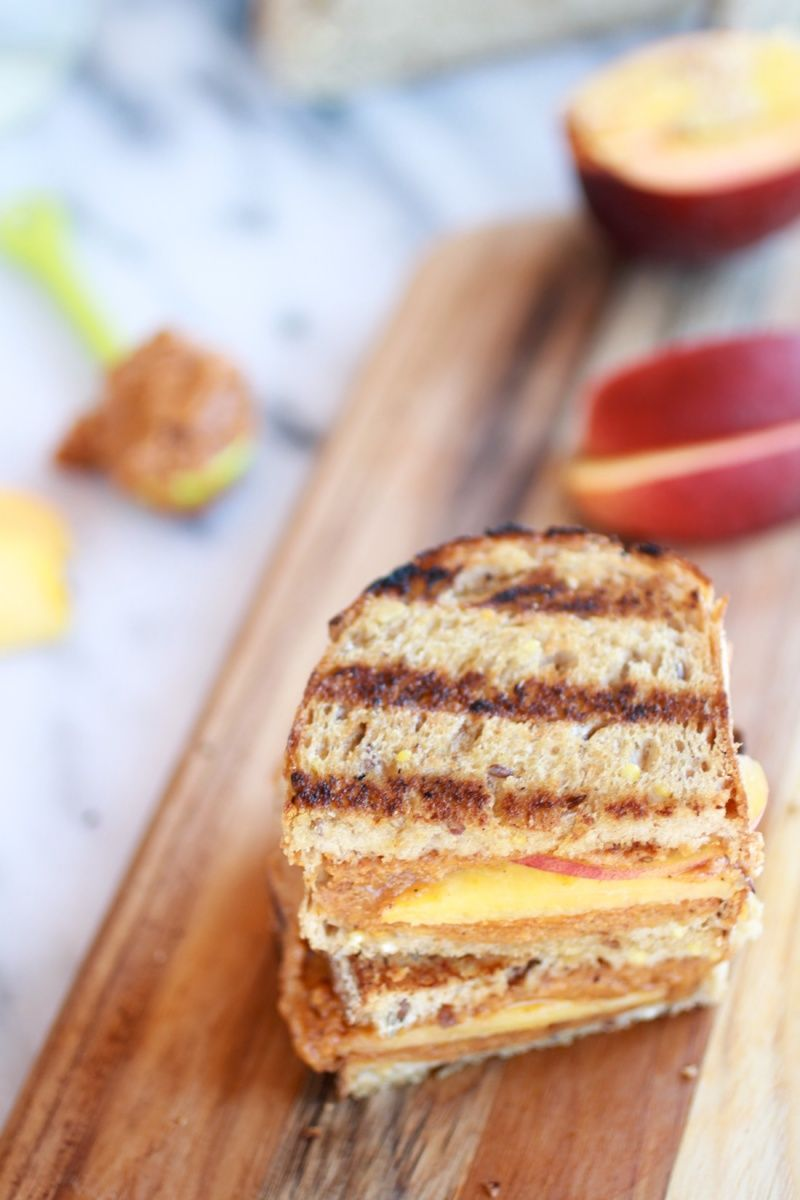 Chipotle Honey Roasted Peanut Butter and Peach Grilled Sandwich | halfbakedharvest.com