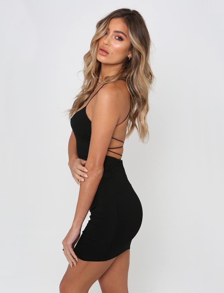 black thin strap open back bodycon dress f71e102e6